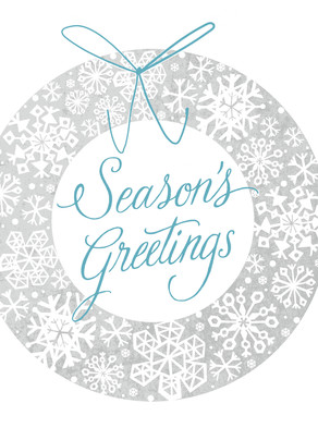Season's Greetings Snowflake Wreath 5x7 Folded Card