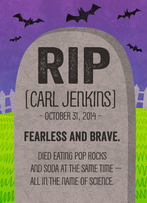 Custom Halloween Tombstone 5x7 Folded Card