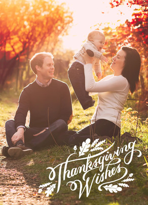 Thanksgiving White Lettering Overlay 5x7 Folded Card