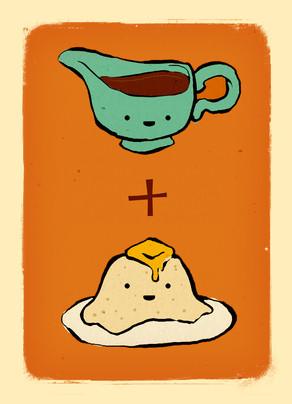 Gravy + Mashed Potatoes 5x7 Folded Card