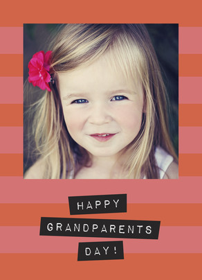Pink Stripes Grandparents Day 5x7 Folded Card