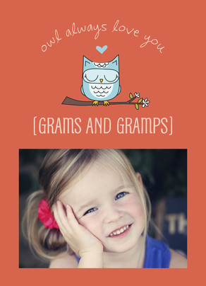 Blue Owl Grandparents Day 5x7 Folded Card