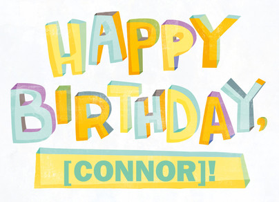 Bright Happy Birthday with Name 7x5 Folded Card