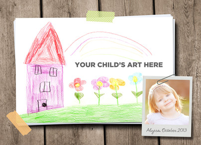 Kid Art with Attached Photo 7x5 Folded Card