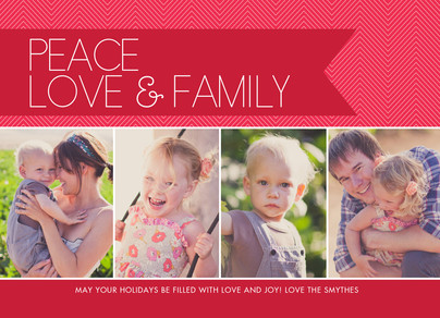 Peace Love & Family on Red Ribbon 7x5 Postcard