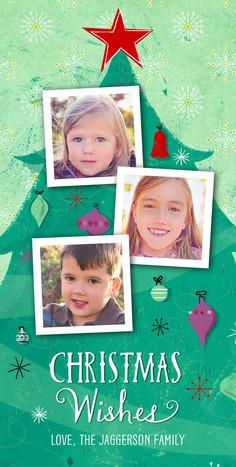 3 Photos on Christmas Tree 4x8 Flat Card