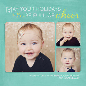 Cheer - 3 Photos on Teal 4.75x4.75 Flat
