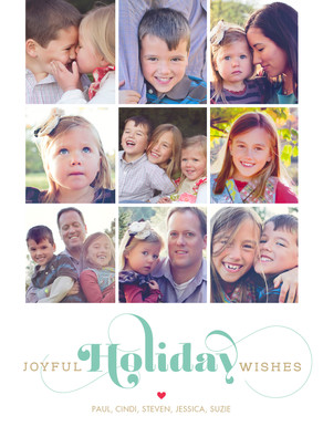 Joyful Holiday Wishes on White 5x7 Flat Card