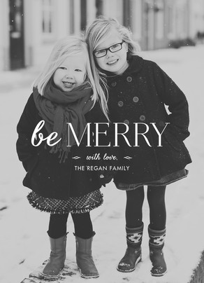 Be Merry - White Overlay 5x7 Flat Card