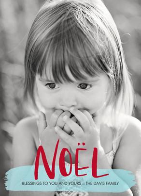 Noel Brush Script Lettering 5x7 Flat Card