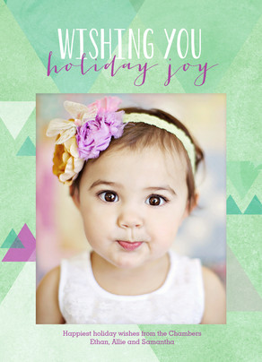 Holiday Joy with Triangle Pattern 5x7 Flat Card
