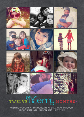 12 Photos - Merry & Bright on Black 5x7 Flat Card