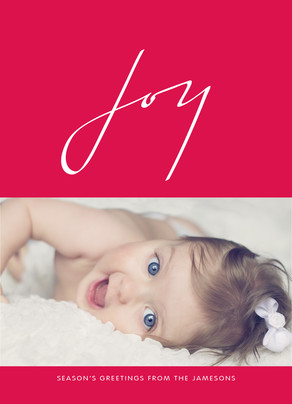 Joy - White Lettering on Red 5x7 Flat Card