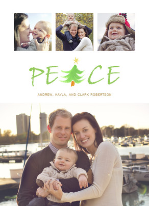 Peace Lettering with Tree 5x7 Flat Card