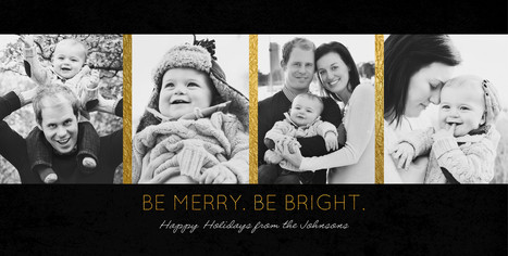 4 Photos on Black with Gold Borders 8x4 Flat Card
