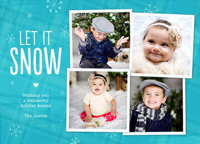 Let it Snow - 4 Photos on Blue 7x5 Flat Card