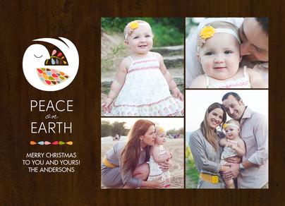 Dove and Photos on Wood Grain 7x5 Flat Card