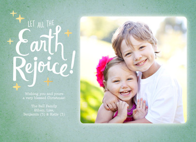Let All the Earth Rejoice - Lettering with Stars 7x5 Flat Card