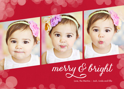 3 Photos on Red with Sparkles 7x5 Flat Card