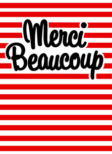 Striped Merci Beaucoup 3.75x5.25 Folded Card