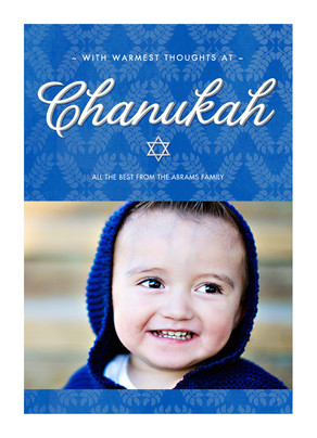 Blue Chanukah 5x7 Flat Card