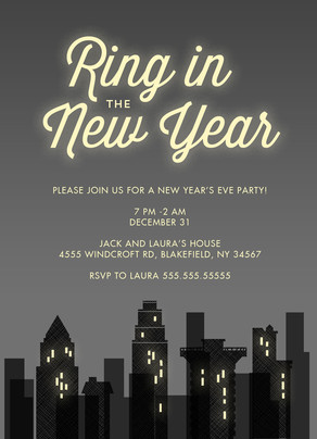 Gray City Scene - New Year's Invitation 5x7 Flat Card