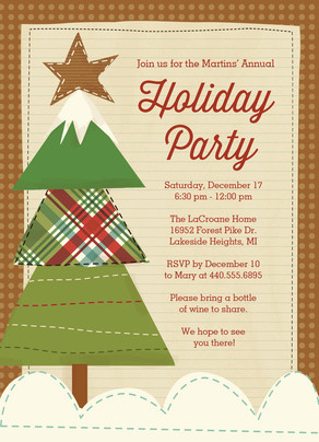 Scrapbook Style Holiday Party Invitation 5x7 Flat Card