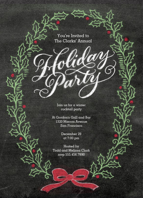 Holiday Party Chalkboard Art 5x7 Flat Card