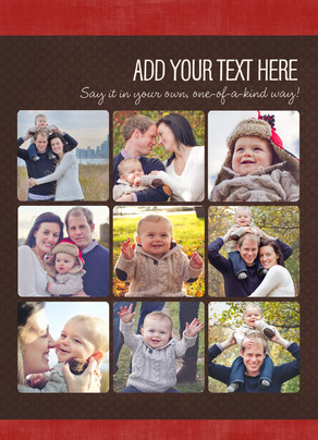 Your Message on Red and Brown 5x7 Flat Card
