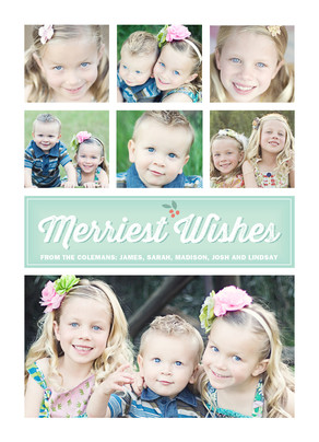 Merriest Wishes 5x7 Flat Card