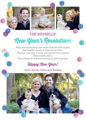 festive new year's resolution 5x7 Flat Card