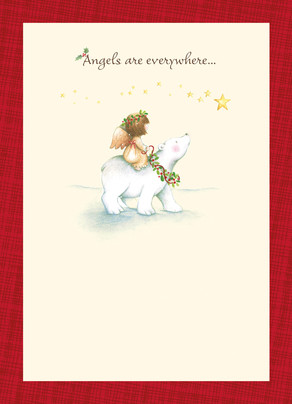 Sweet Christmas Angel and Polar Bear 5x7 Folded Card
