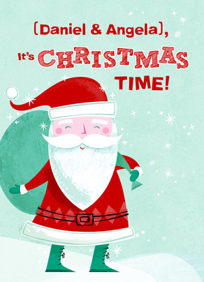 Jolly Santa Christmas Time 5x7 Folded Card
