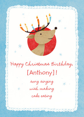 Cute Christmas-birthday Reindeer Christmas Happy Birthday Card ...
