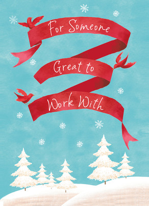 Winter Scene and red banner for Coworker 5x7 Folded Card
