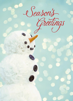 Pom Pom Snowman - Season's Greetings 5x7 Folded Card