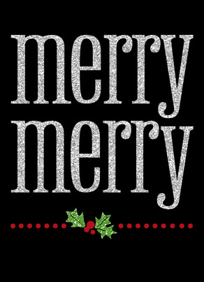 Glitter Merry Merry 5x7 Folded Card