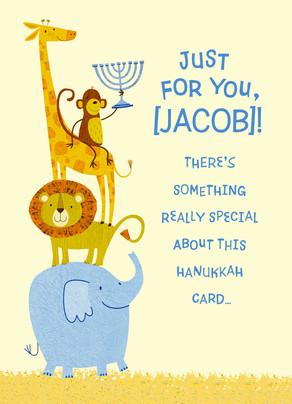 Cute Happy Hanukkah Animals 5x7 Folded Card