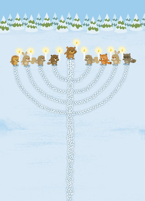 Cute Woodland Animals Create Menorah 5x7 Folded Card