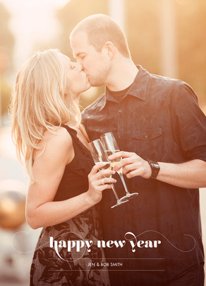 Happy New Year Photo Overlay 5x7 Folded Card