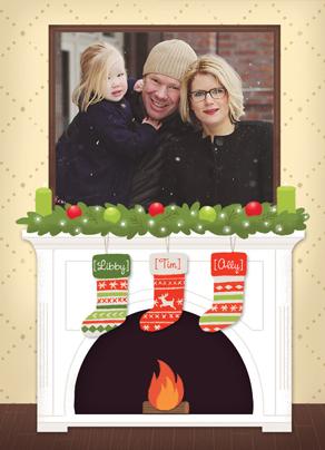 Photo Framed over Christmas Mantle 5x7 Folded Card