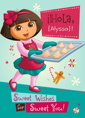 Dora Baking Christmas Cookies 5x7 Folded Card