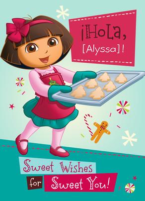 Dora Baking Christmas Cookies 5x7 Folded Card