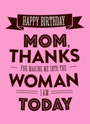 Happy Birthday Thanks Mom 5x7 Folded Card