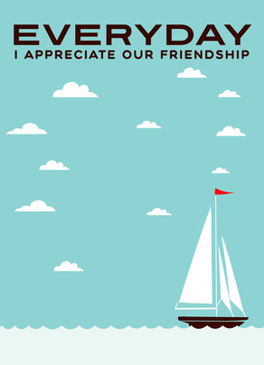 Friendship Sailboat 5x7 Folded Card