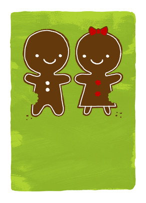 Happy Gingerbread Couple 5x7 Folded Card
