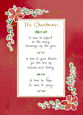 Christmas Floral Border 5x7 Folded Card