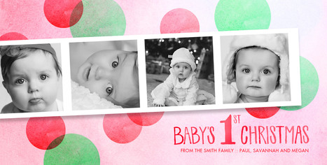 Baby Girl's 1st Christmas 8x4 Flat Card