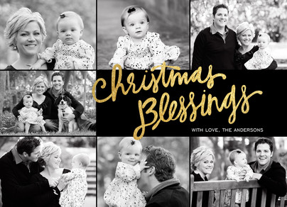 Golden Christmas Blessings 7x5 Flat Card
