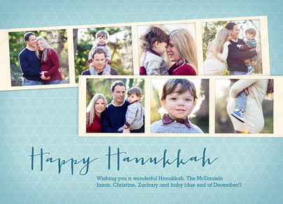 Hanukkah Photo Strips 7x5 Flat Card